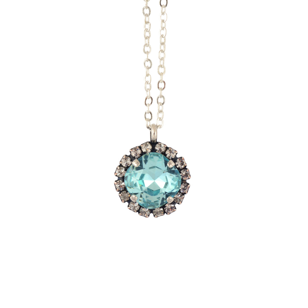 Nara Encrusted Round Necklace, Silver Plated Pendant in Light Teal Crystal