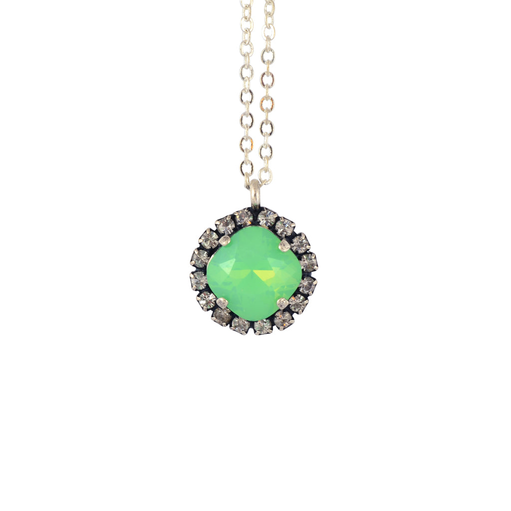 Nara Encrusted Round Necklace, Silver Plated Pendant in Mint Green Crystal