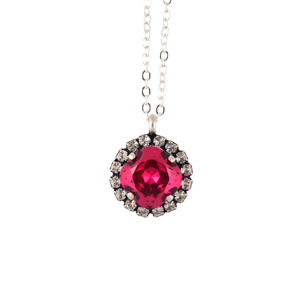 Nara encrusted round necklace silver plated pendant in red crystal aloadofball Gallery