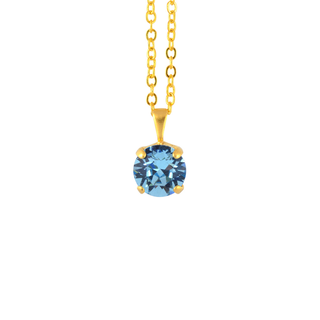 Nara Round Necklace, Gold Plated Pendant in Aqua Crystal