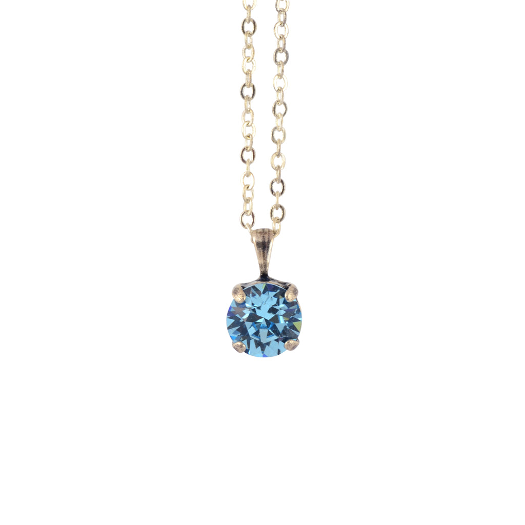 Nara Round Necklace, Silver Plated Pendant in Aqua Crystal