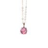 Nara Round Necklace, Silver Plated Pendant in Light Pink Crystal