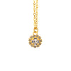 Nara Encrusted Round Necklace, Gold Plated Pendant in Clear Crystal
