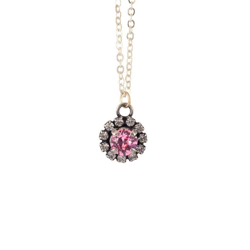 Nara Encrusted Round Necklace, Silver Plated Pendant in Light Pink Crystal