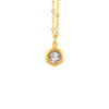 Nara Hexagon Necklace, Gold Plated Pendant in Clear Crystal