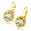 Nara Hexagon Earrings, Gold Plated Honeycomb Bolt on French Leverback Drop with Swarovski Crystal