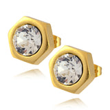 Nara Hexagon Stud Earrings, Gold Plated Honeycomb Bolt on Post with Swarovski Crystal