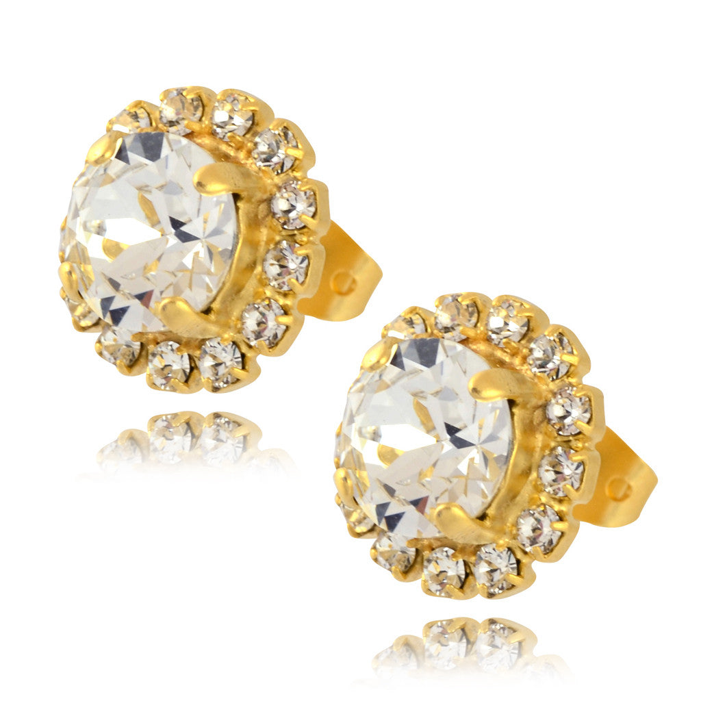 Nara Round 2 Layer Crystal Stud Earrings, Gold Plated Posts with Swarovski