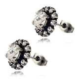 Nara Small Round 2 Layer Crystal Stud Earrings, Silver Plated Posts with Swarovski