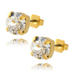 Nara Round Crystal Stud Earrings, Gold Plated Post with Elegant Swarovski Circle