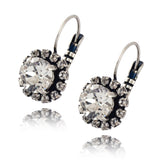 Nara Round 2 Layer Crystal Earrings, Silver Plated French Leverback Drop with Swarovski