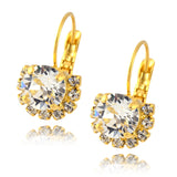 Nara 2 Layer Open Circle Earrings, Gold Plated French Leverback Drop with Swarovski Crystal