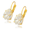 Nara Lightweight Crystal Teardrop Earrings, Gold Plated French Leverback Drop with Swarovski Pear Shape