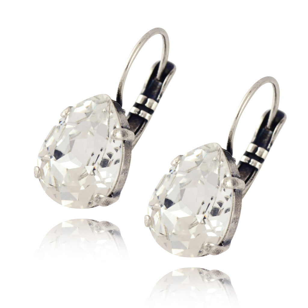 Nara Lightweight Crystal Teardrop Earrings, Silver Plated French Leverback Drop with Swarovski Pear Shape