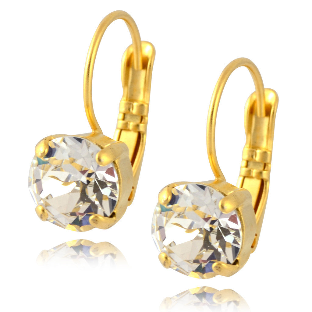 Nara Round Crystal Drop Earrings, Gold Plated French Leverback with Swarovski Circle