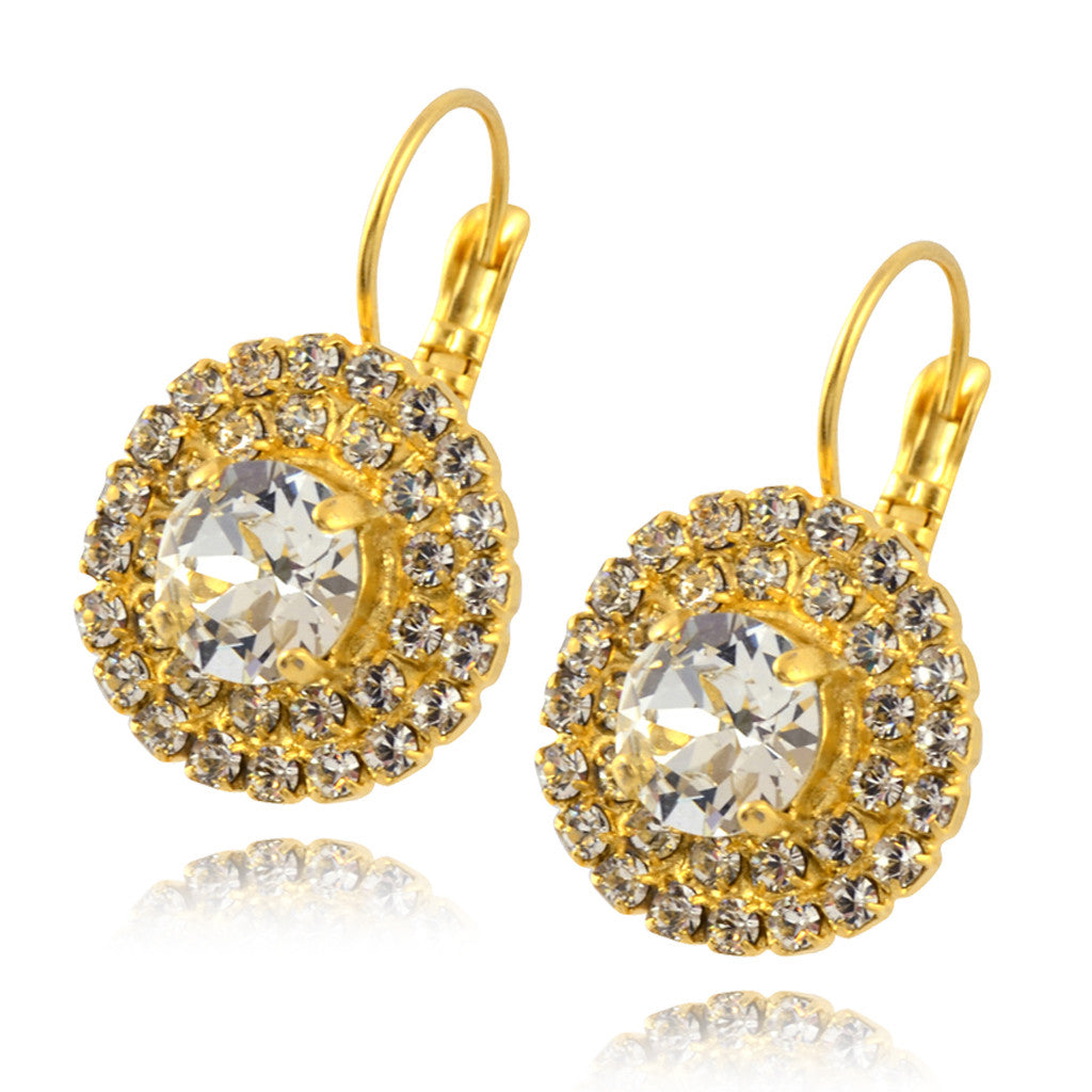 Nara Round Crystal Earrings, Gold Plated French Leverback Drop with 3 Layers of Swarovski Circles