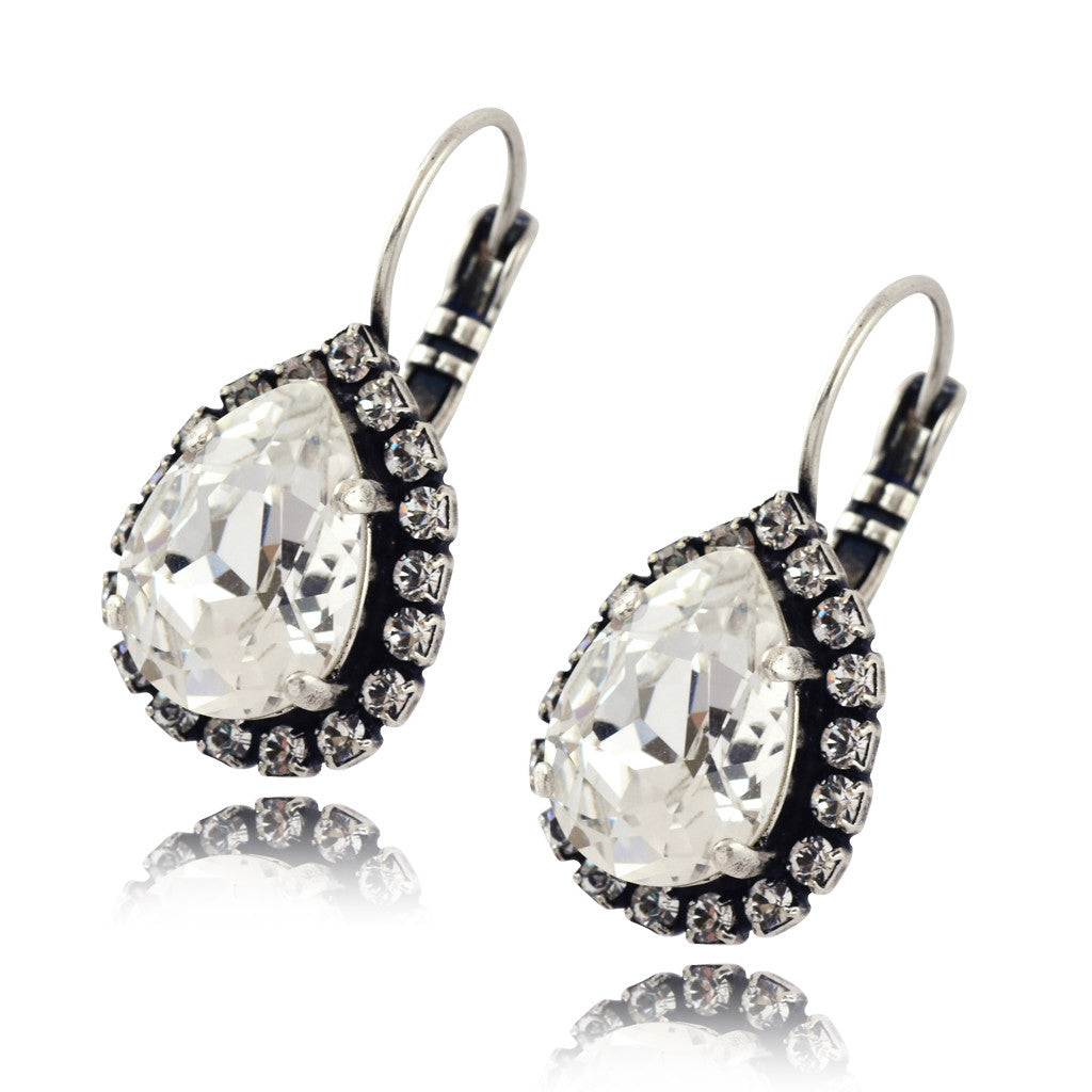 Nara Crystal Teardrop Earrings, Silver Plated French Leverback Drop with Swarovski Pear Shape