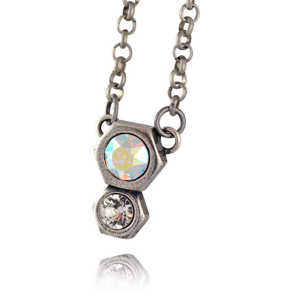 Nara 2 Hexagon Necklace, Silver Plated Modern Honeycomb Bolt on Pendant with Swarovski Crystal