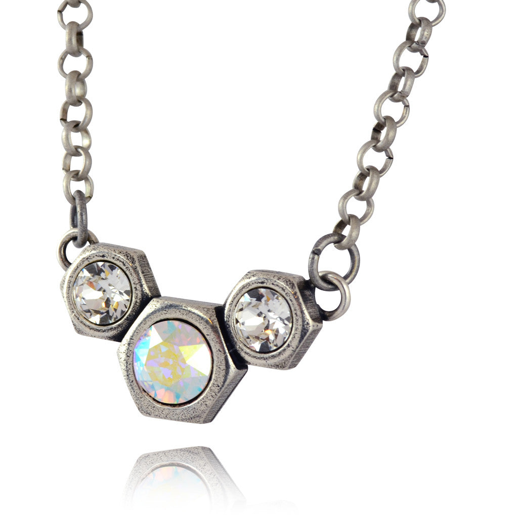 Nara 3 Hexagon Necklace, Silver Plated Modern Honeycomb Bolt on Pendant with Swarovski Crystal