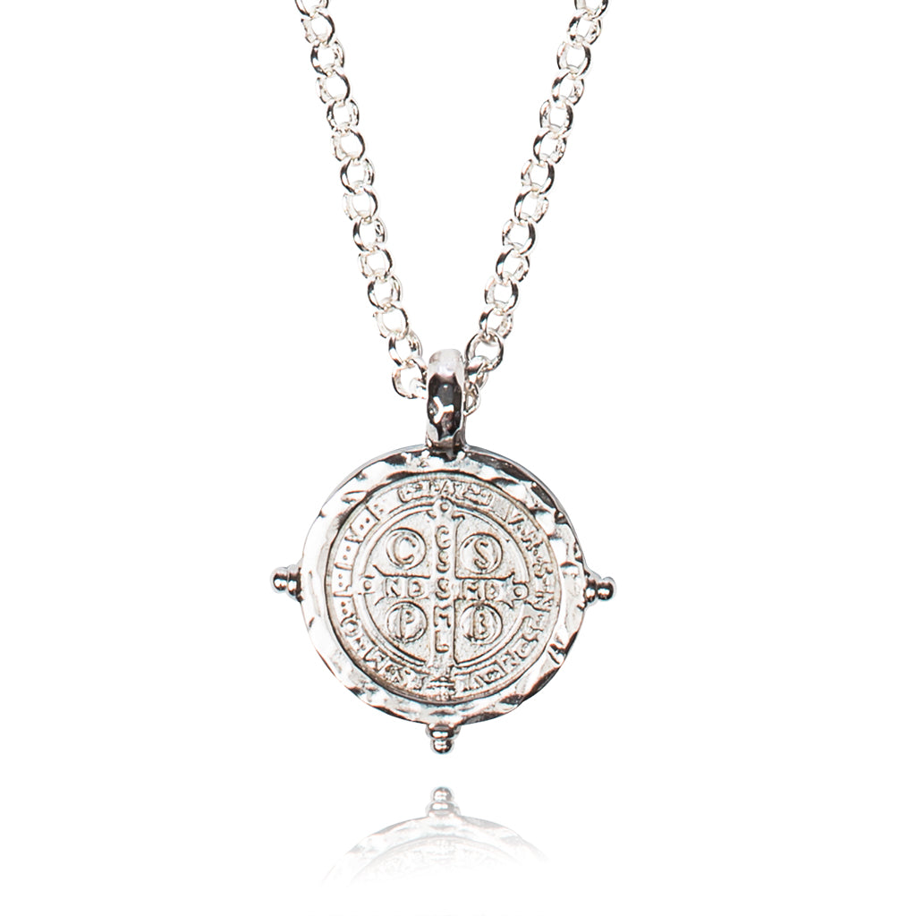 My Saint My Hero Benedictine Medallion Necklace - Silver Plated