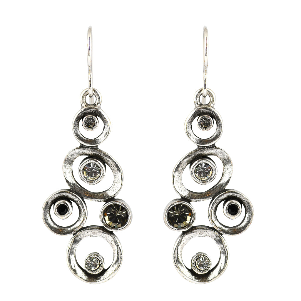 "Patricia Locke ""Black and White"" Hopscotch Dangle Earrings, Silver Plated French Wire"