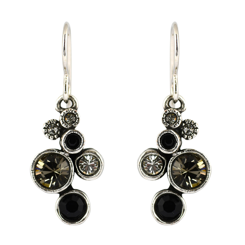 "Patricia Locke ""Black and White"" Splash Dangle Earrings, Silver Plated French Wire"