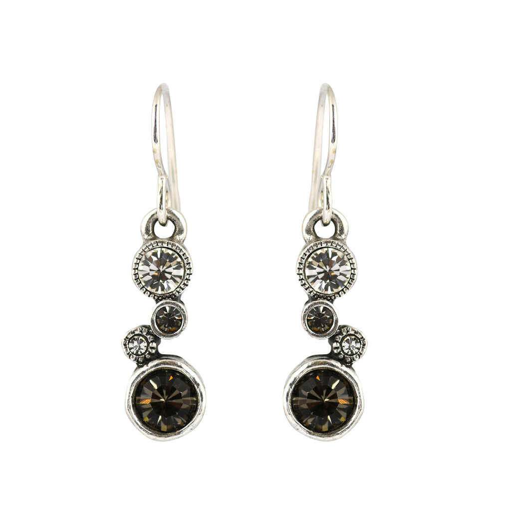 "Patricia Locke ""Black and White"" Cassie Dangle Earrings, Silver Plated French Wire"