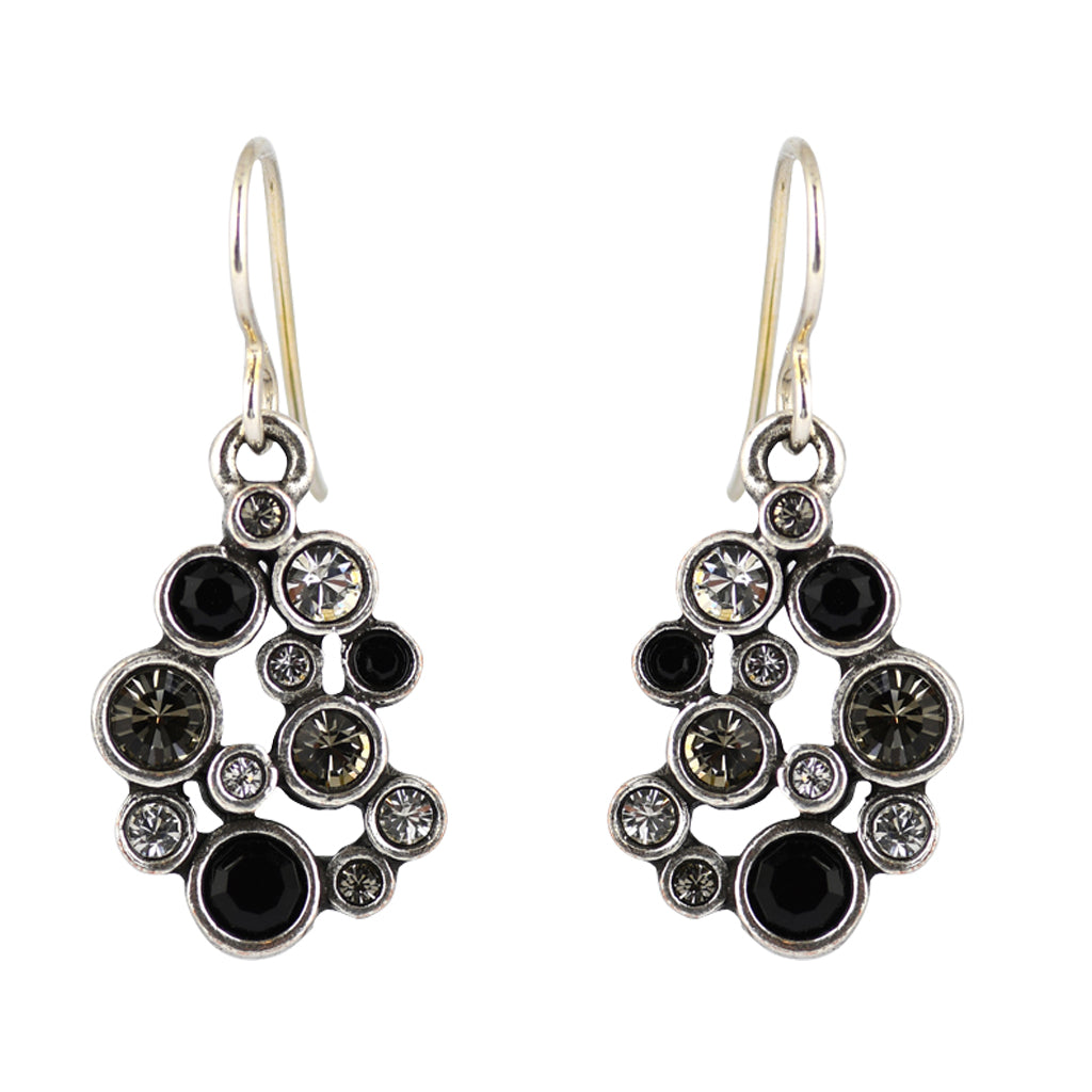 "Patricia Locke ""Black and White"" Something Borrowed Dangle Earrings, Silver Plated French Wire"