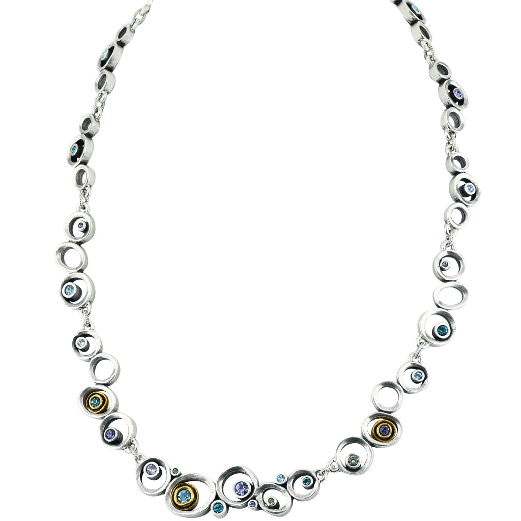 "Patricia Locke ""Waterlily"" Leap Frog Necklace, Silver Plated 19"""