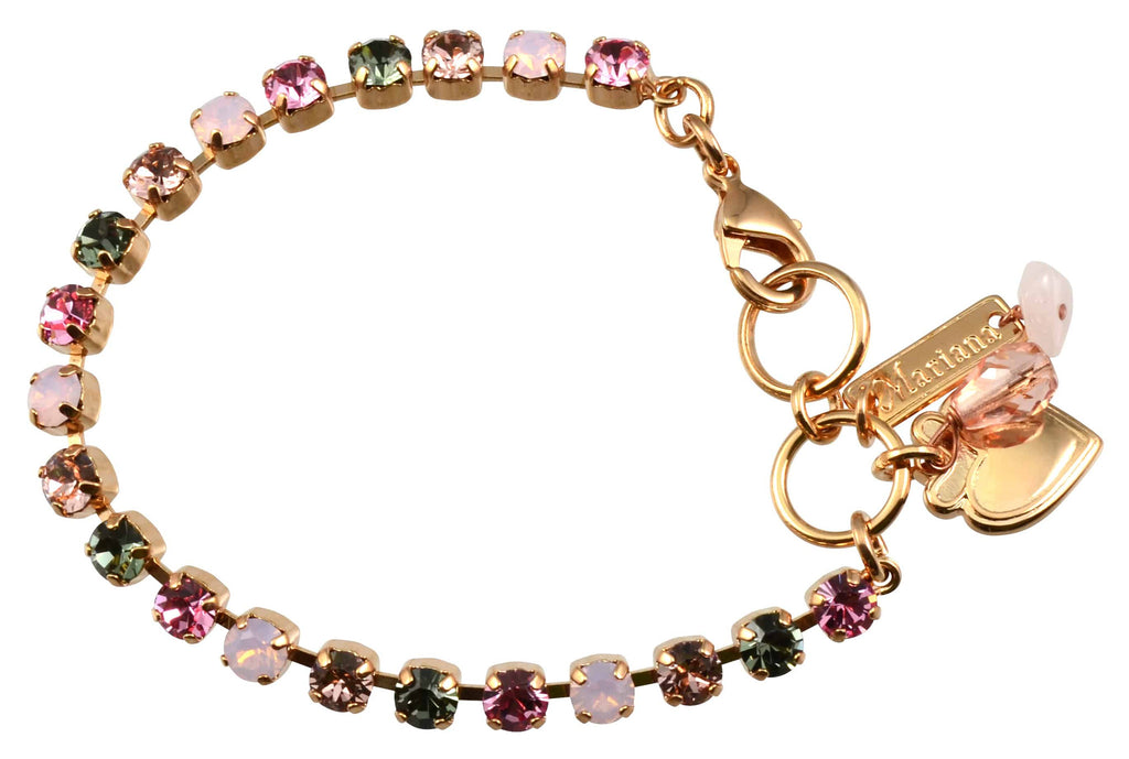Pink Ice Rose Gold Plated Swarovski Crystal Tennis Bracelet with Heart Pendant, 8