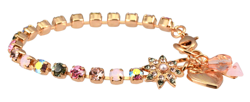 Pink Ice Rose Gold Plated Swarovski Crystal Tennis Bracelet with Flower and Heart, 8