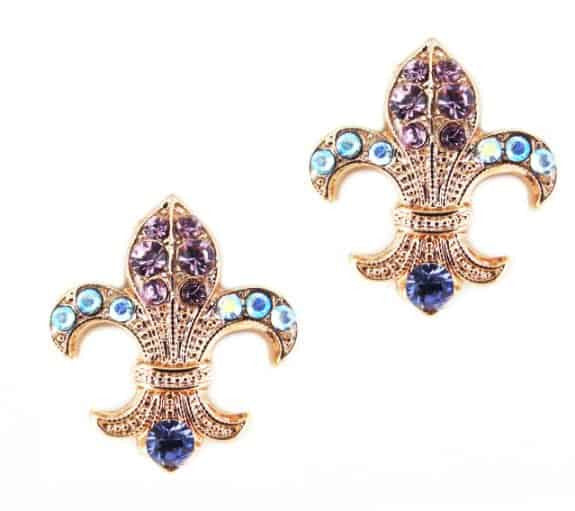 Rose Gold Plated Fleur de Lis Swarovski Crystal Earrings
