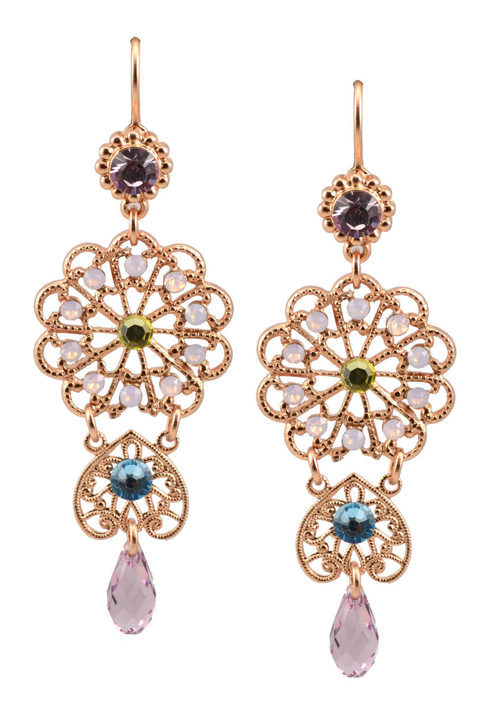 Rose Gold Plated Flower Dangle Swarovski Crystal Earrings