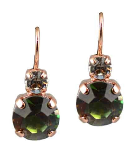 Rose Gold Plated Petite Round Swarovski Crystal Drop Earrings