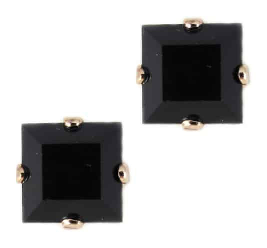 Rose Gold Plated Square Swarovski Crystal Post Earrings in Jet