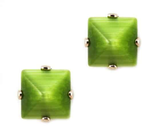 Rose Gold Plated Square Swarovski Crystal Post Earrings in Light Green