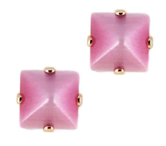 Rose Gold Plated Square Swarovski Crystal Post Earrings in Rose