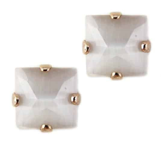 Rose Gold Plated Square Swarovski Crystal Post Earrings in White Opaque