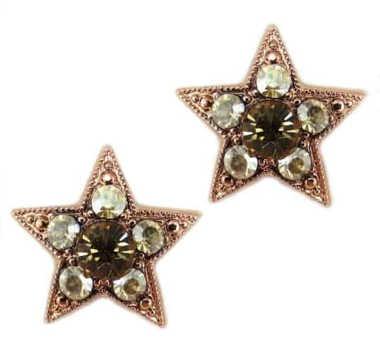 Rose Gold Plated Star Swarovski Crystal Post Earrings in Mocca and Greige