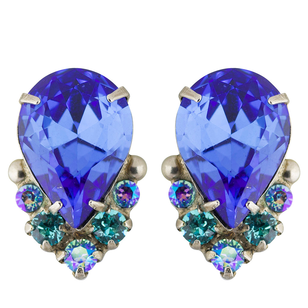 Sorrelli Ultramarine Antique Silver Plated Crystal Teardrop and Cluster Post Earring