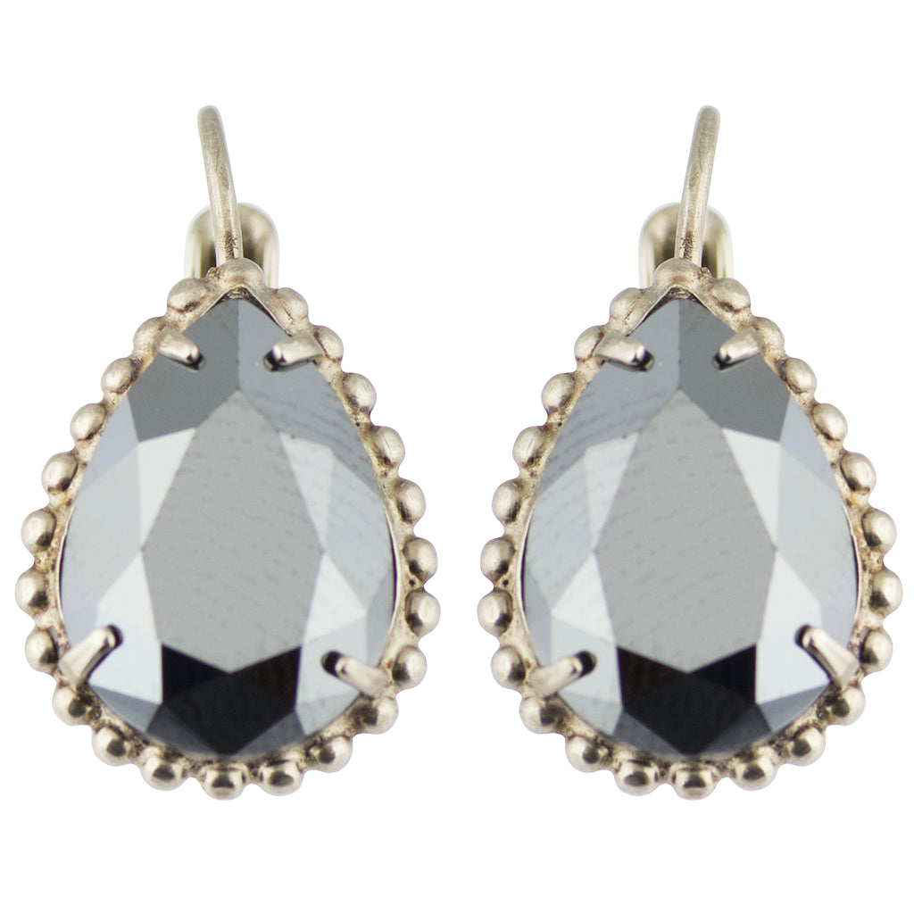Sorrelli Crystal Noir Antique Silver Plated Pear Cut Drop Earring