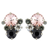 Sorrelli Crystal Noir Antique Silver Plated Crystal Assorted Rounds Stud Earrings