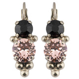 Sorrelli Crystal Noir Antique Silver Plated Ornate Crystal Rounds French Wire Earring