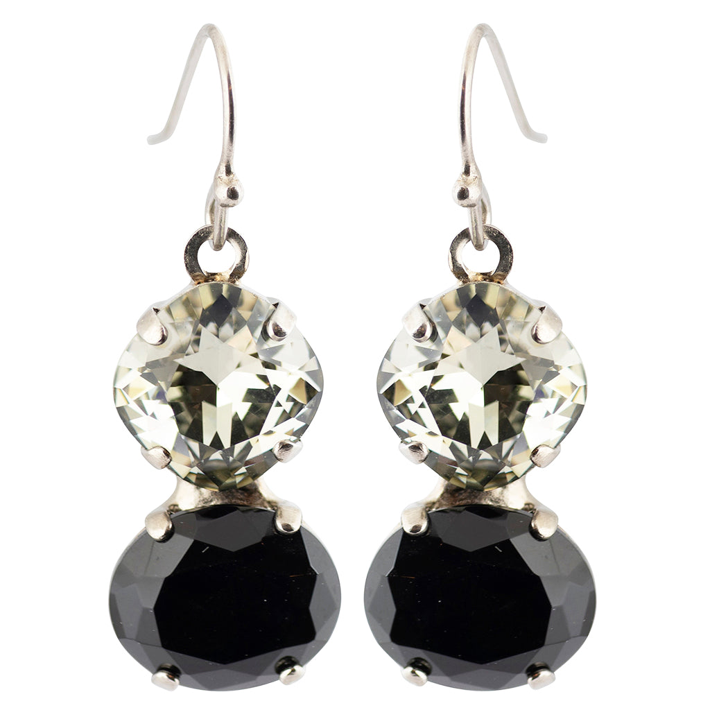 Sorrelli Crystal Noir Antique Silver Plated Dynamic Duo Earring