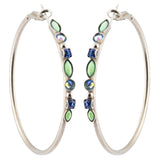 Sorrelli Ultramarine Antique Silver Plated Mixed Media Hoop Earrings