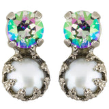 Sorrelli Crystal Envy Antique Silver Plated Harttley Stud Earrings