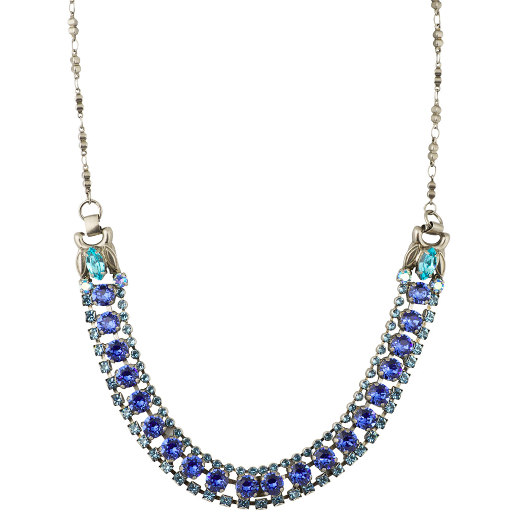 Sorrelli Ultramarine Antique Silver Plated Right on Track Necklace