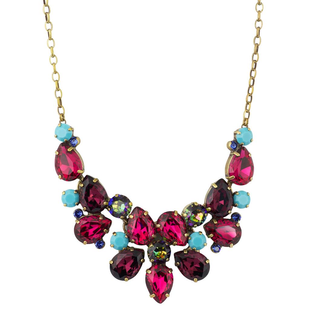 Sorrelli Southwest Brights Antique Gold Plated Dare To Pear Crystal Bib Necklace