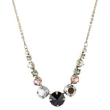 Sorrelli Crystal Noir Antique Silver Plated Delicate Round Tennis Necklace