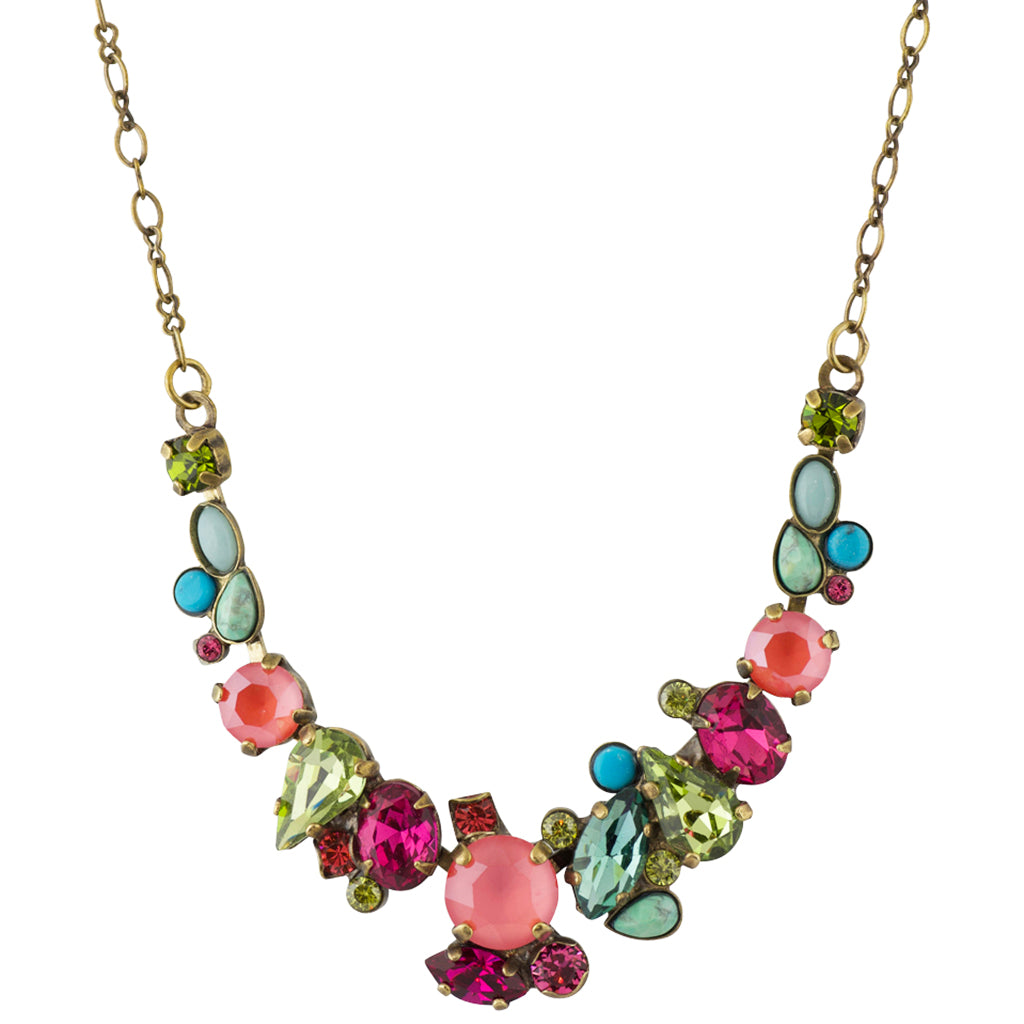 Sorrelli Botanical Brights Antique Gold Plated Asymmetric Cluster Necklace